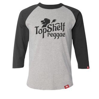 Grey & Black Top Shelf Reggae Raglan
